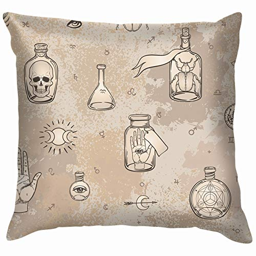 Mystic Magic Religion Occultism Esoteric Alchemist Throw Pillow Case Cushion Cover Pillowcase Watercolor for Couch 22X22 Inch for $<!--$8.99-->