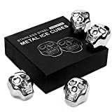Image of Wieppo Stainless Steel Whiskey Stones Gift Set of 4 Skull Beverage Chilling Cubes Rocks Whiskey Chilling Stones Reusable Whiskey Stones Stainless Steel Ice Cubes for Indoor Outdoor Party
