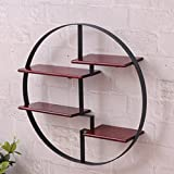 KINGSO Round Wall Unit Retro Wood Industrial Style Metal Shelf Rack Storage Black Black