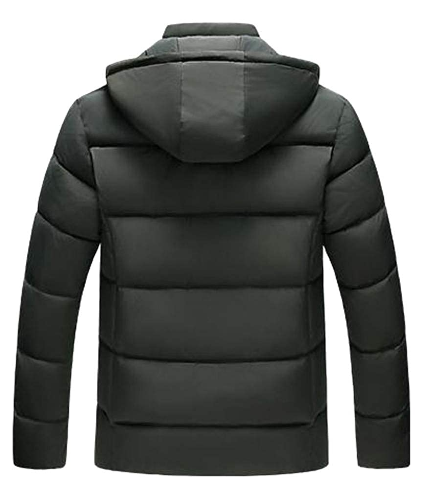 Hajotrawa Mens Warm Thicken Hooded Faux Fur Lined Quilted Jacket Parka Coat