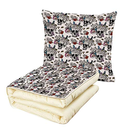 iPrint Quilt Dual-Use Pillow Gothic Day of The Dead Inspired Human Skulls Design with Colorful Flowers Mexican Tradition Multifunctional Air-Conditioning Quilt Multicolor by iPrint