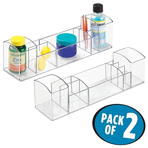 mDesign Compact Plastic Bathroom Organizer Storage Center with 8 Compartments for Organizing Toothpaste, Electric Spin Toothbrushes, Dental Floss, Tweezers, Vitamins, Medicine - Pack of 2, Clear