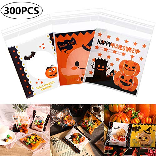 Diy Halloween Party Snacks (300 Pieces Halloween Candy Bags, 3 Different Style Self Adhesive Clear Treat Cookie Bags Adhesive Biscuit Bags for Party Cookies Candy Bakery Snacks Dessert DIY Baking Homemade)