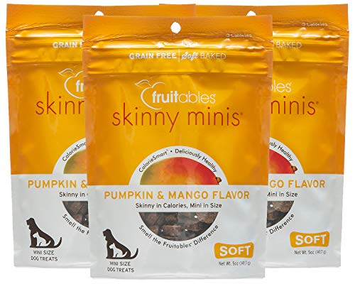 Fruitables Pumpkin & Mango Skinny Mini Dog Treats 5-Ounce by Fruitables (Pack of 3) -