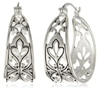 "Sterling Silver Bali Inspired Filigree Triangle Shape Hoop Earrings (1.0"" Diameter) from Amazon Curated Collection"