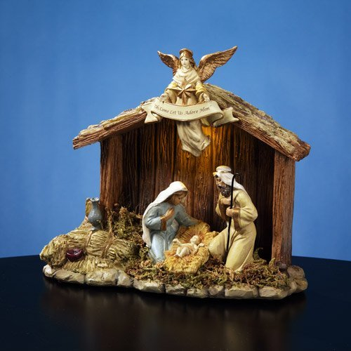 The San Francisco Music Box Company Nativity Stable with Holy Family (Nativity Music Box)