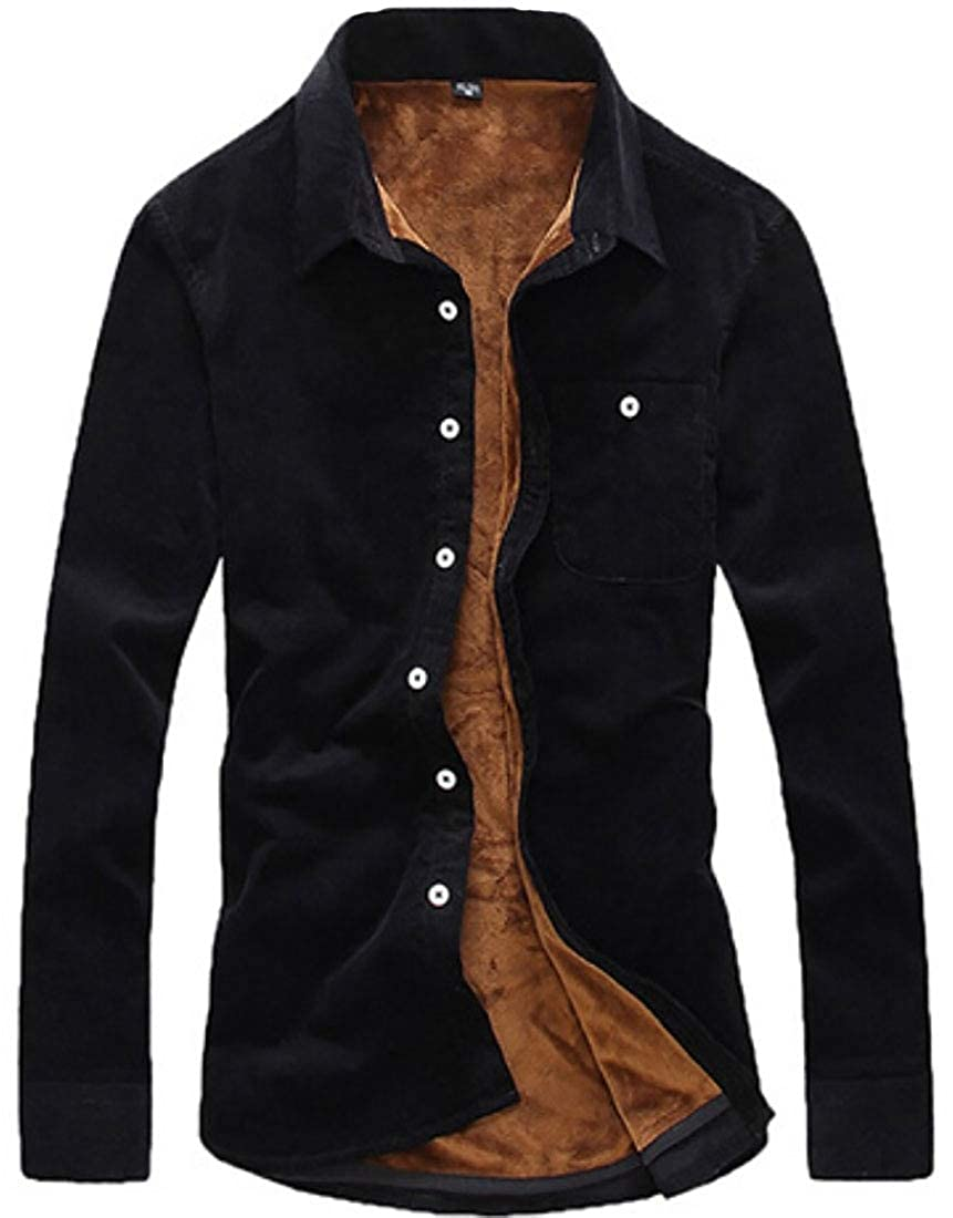 ouxiuli Mens Casual Thick Warm Two Button Long-Sleeve Corduroy Fleece Lined Blouses