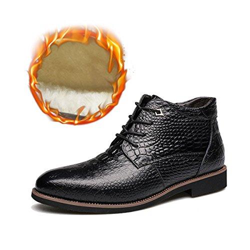 Gracosy Men's Chukka Boot, Men Leather Formal Boots, Cap-Toe Oxford Shoe, Dress Lace Up Shoes with Velvet Black 12 (Up Lace Shoe Black Velvet)