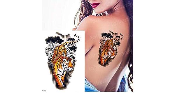 tzxdbh Tatuaje Tigre Temporal para Hombre Tatuaje Falso Tatuajes ...