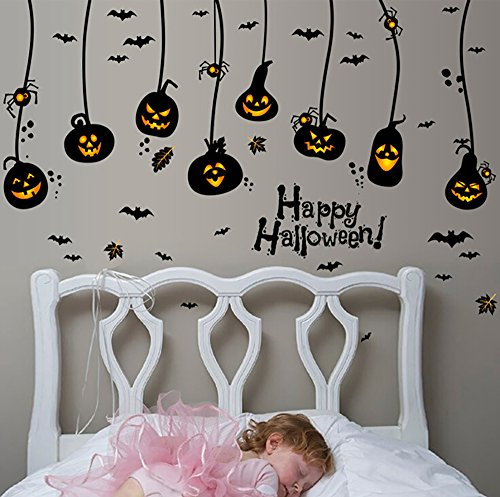 Halloween Pumpkin DIY Wall Stickers Decoration Wall Art Sticker Decals 23.6