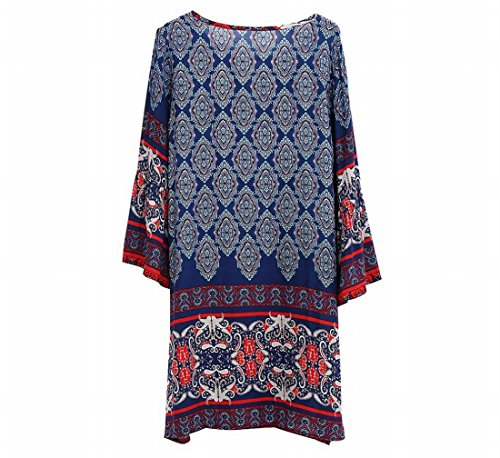 Club Loose Womens Sleeve Blue Printing Dress Vintage Flare Coolred Party 7qZ6Pq