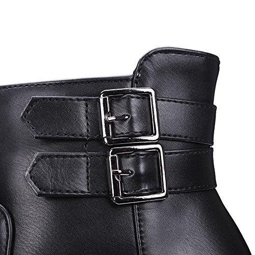 BalaMasa Ladies Platform Buckle Color Matching Thick Bottom Heel Imitated Leather Boots Black cbTtVq