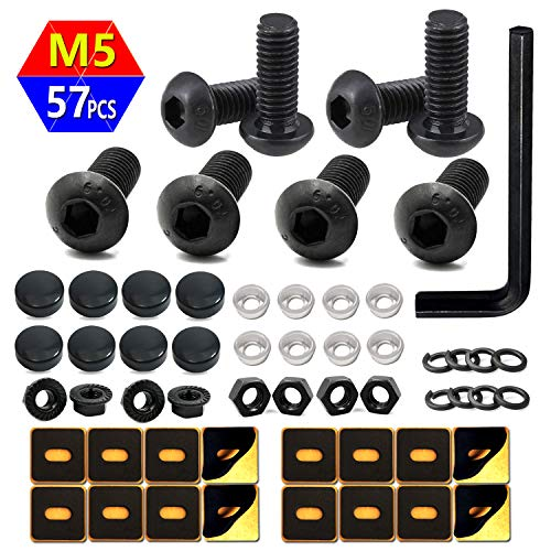 Black License Plate Screws -M5 Button Head Socket Caps Screws, Anti-Theft License Bolts Fastener Kit with Black Screw Covers for Securing Front License Plate, Frames and Covers on Cars, Trucks