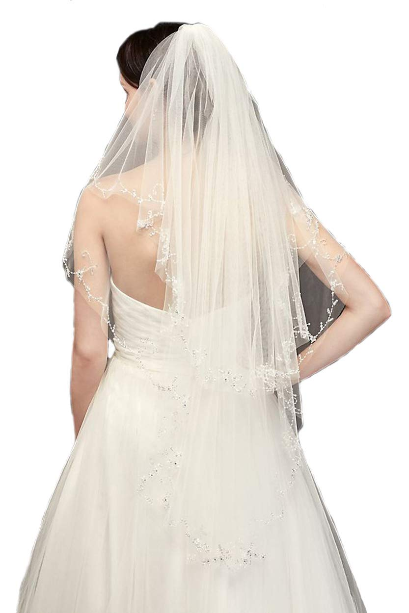 Passat Ivory Knee 2T Crystal Beaded Veils Pearl Bridal Veil DB133 by Passat