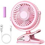 Stroller Fan, Cambond Clip On Battery Operated Fan with 3 Adjustable Speed for Baby Carseat Travel Camping, Pink
