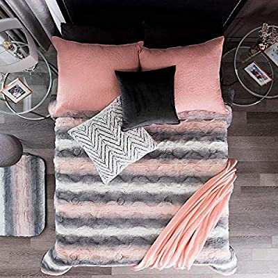 DreamPartyWorld Pink and Grey Blanket Light Queen/Full Girls Warm Striped Soft Teens Comforter Bedding: Home & Kitchen