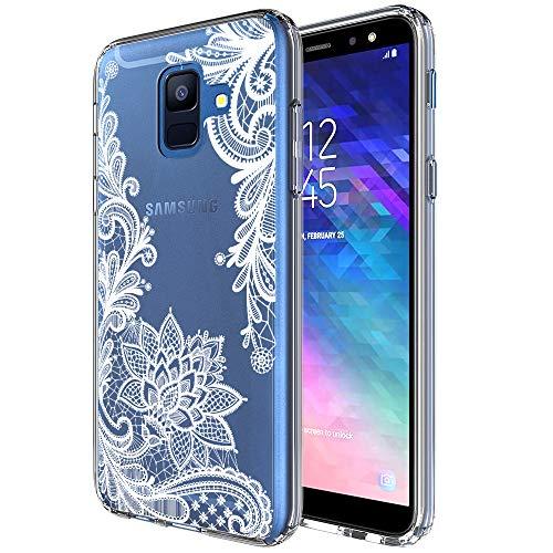 Samsung Galaxy A6 Case, LEEGU Anti-Scratch Shockproof Floral Printed Women Girls Hard Plastic TPU Gel Bumper Protective Cover Slim Case for Samsung Galaxy A6 2018 - White Lace