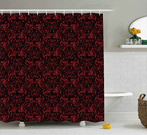 Ambesonne Victorian Shower Curtain, Vintage Floral Design with Ivy Swirls Flowers Ethnic Design Image Print, Cloth Fabric Bathroom Decor Set with Hooks, 70 Inches, Charcoal Ruby
