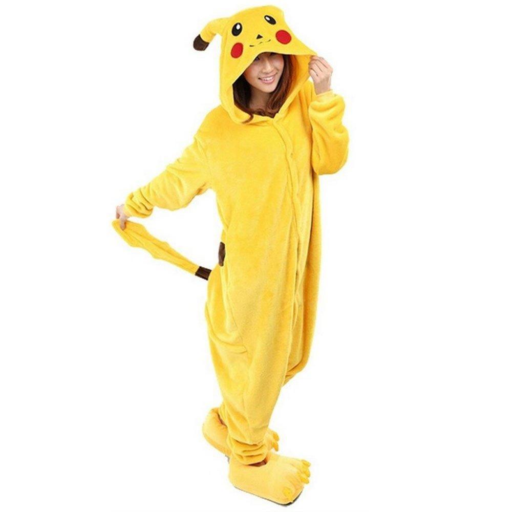 8017 - Anime Unisex Adult Pajama Pikachu Pokemon Cosplay Costume Yellow S-XL