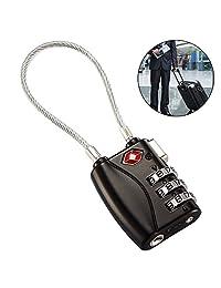 Bullspring LOCK, TSA – Candado para Equipaje con Cable Flexible, cerradura del cable de 3 dígitos para la maleta, bolso del recorrido, y armario del gimnasio.