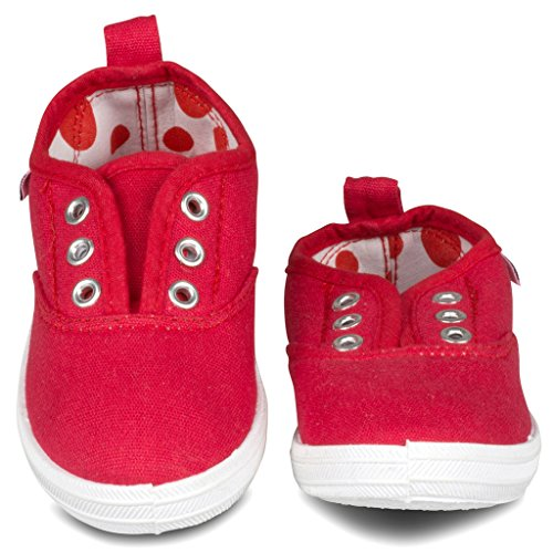 Girls-Slip-On-Shoes-Laceless-Canvas-Plimsole-Sneakers