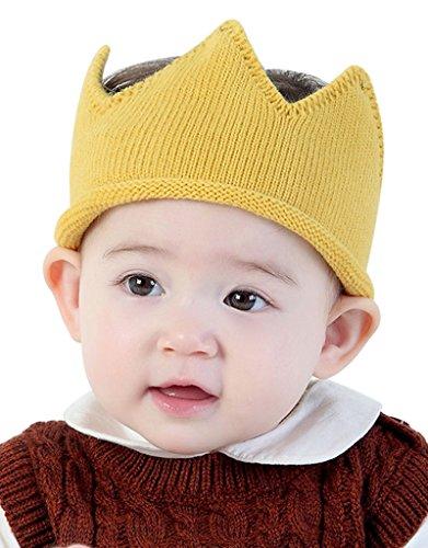 Baby Boy Girl Crown Hat Baby Boy Birthday Hat Toddler Knit Crochet Warm Beanie -