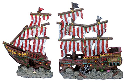 Penn Plax Striped Sail Shipwreck Aquarium Decoration 2PC Large Over 19 Inches High for Large Fish Tanks