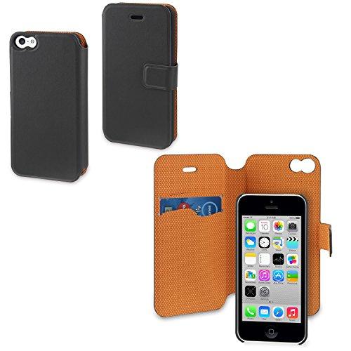 Muvit MUMAG0001 magic folio Etui Schutzhülle für Apple iPhone 5C grau/orange