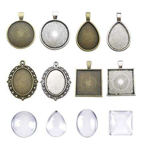 (Youdiyla 16 Sets Mixed Photo Pendant Trays Kits with Matching Glass Cabochon, Antique Silver and Bronze Tone, Base Setting Blank Bezel Frame Cameo (HM175))
