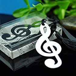 Pack of 10 Hollow Musical Notes Bookmarks Metal With Mini Greeting Cards Tassels Pendant Gifts Wedding Favors by Fascola