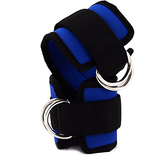Cheap gelvs Blue Gym Ankle Strap for Cable Machine Kickback Workout Fitness Padding Cuffs Leg Strengthening Conditioning Hips Thighs Glutes,Tight Adjustable,Double D Ring,Comfort Pad (Pair)
