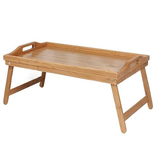 GY Mesa Plegable, Bandeja de Cama de Madera de bambú portátil ...
