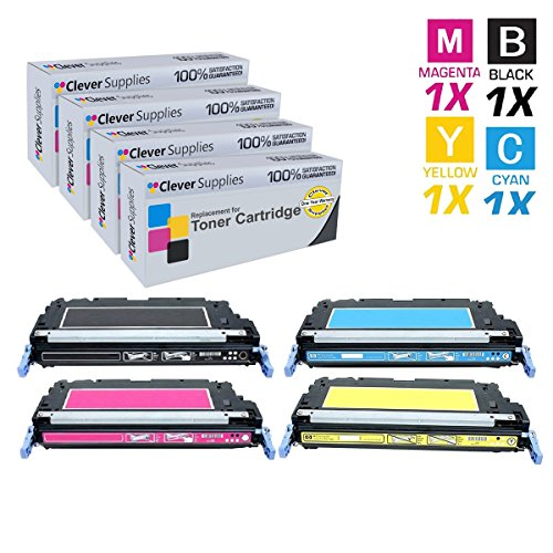 Clever Supplies CS Compatible Toner Cartridge Replacement for HP 3600n Q6470A Black Q6471A Cyan Q6472A Yellow Q6473A Magenta HP 501A & 502A COLOR LASERJET 3600N 3600DN 3800N 3800DN 3800DTN CP3505N 4 Color Set