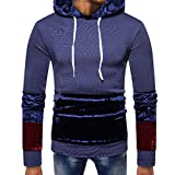 Mens T-Shirts Clearance WEUIE Mens Splicing Pocket Pullover Long Sleeve Hooded Sweatshirt Tops Blouse(2XL, Navy)