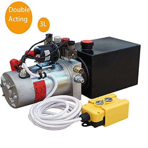 ECO LLC Double Acting Hydraulic Pump DC 12V Dump Trailer 3 Quart Translucent Reservoir 12v Hydraulic Power Unit