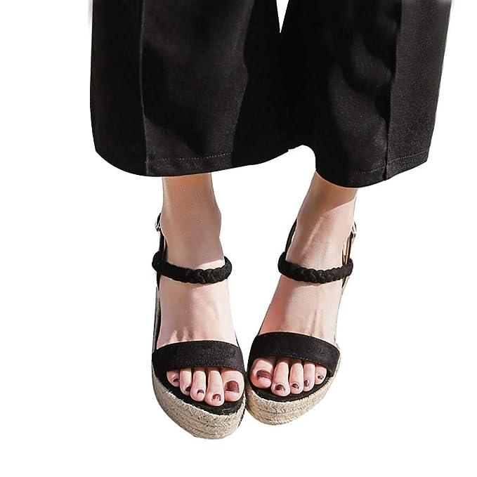 : Womens Wedge Sandals Jute Rope High Heel Summer