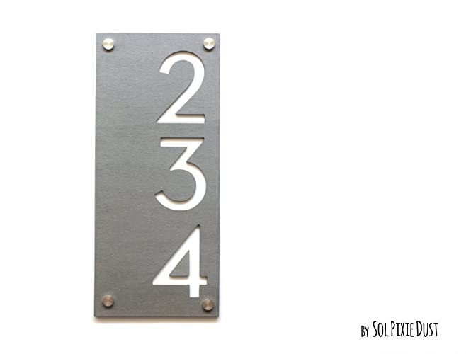 Modern House Numbers Concrete with White Acrylic - Vertical - Contemporary Home Address -Sign  sc 1 st  Amazon.com & Amazon.com: Modern House Numbers Concrete with White Acrylic ...