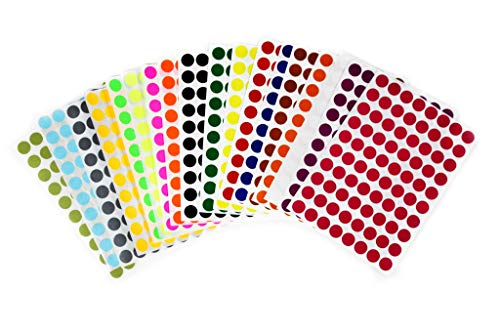 Color Coding Round dot Stickers 1/2