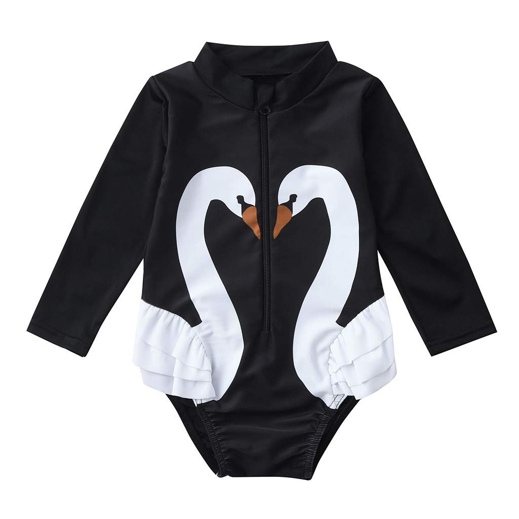 Little Girls Summer Bikini Sets,Jchen Baby Kids Girls Swimsuits Ruffles Cartoon Swan One-Piece Swimwear Swimsuit Bikini