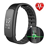 HK Blood Pressure Watch Men Waterproof Fitness Tracker Heart Rate Monitor Bluetooth Sleep Calorie Counter Bracelet w/Touchscreen …