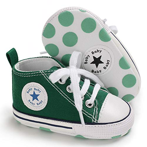 Unisex Baby Boys Girls Canvas Sneakers Soft Soled High-Top Ankle Infant Crib Shoes Toddler First Walkers(6-12 Months,Green)