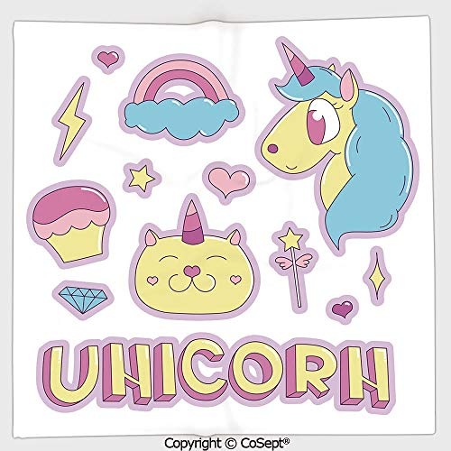 (AmaUncle Long-Lasting and Soft Square Towel,Collection Fantastic Icons Magic Horse Kitten Cupcake Rainbow Decorative,for Men Women(19.68x19.68 inch),Sky Blue Pink Light Yellow)