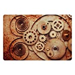 Ambesonne Vintage Pet Mat for Food and Water, Mechanical Clocks Details Old Rusty Look Backdrop Gears Steampunk Design, Rectangle Non-Slip Rubber Mat for Dogs and Cats, Dark Orange Beige 5