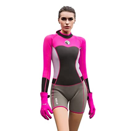 Image Unavailable. Image not available for. Color  Zerorun Women s Shorty  Wetsuit Long Sleeve 1.5mm Neoprene Slim Keep Warm Diving Surfing Swimwear 0b3b986f8