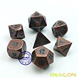 BESCON DICE Bescon Antique Copper Solid Metal Polyhedral D&D Dice Set of 7 Old Copper Metal RPG Role Playing Game Dice 7pcs Set