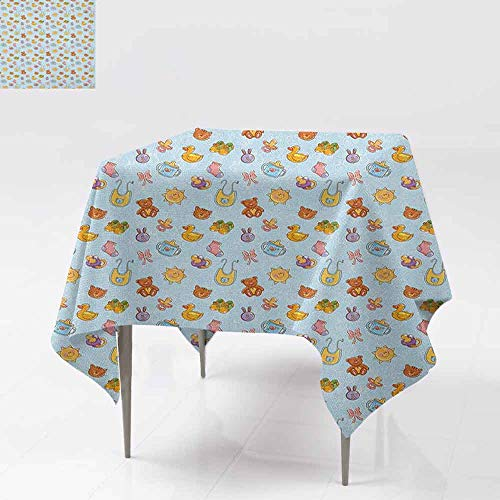 AndyTours Tablecloth for Kids/Childrens,Baby,Newborn Sun Teddy Bear Ribbon Feeder Pacifier Chick Kitty Cat Design,for Square and Round Tables,54x54 Inch Pale Blue Cinnamon Apricot