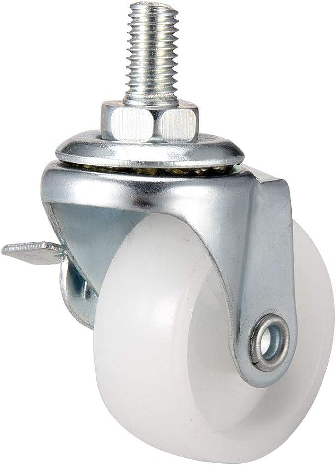paquete de 4 Sourcingmap Ruedas giratorias de 1.5 pulgadas PP 360 grados v/ástago roscado rueda M8 x 15 mm 2 con freno, 2 sin freno capacidad de carga total 132lb
