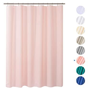 AmazerBath Plastic Shower Curtain, 72  x 72  Pink EVA 8G Thick Bathroom Shower Curtains Non-Toxic No Chemical Odor Eco-Friendly with Heavy Duty Clear Stones and Rust-Resistant Grommet Holes