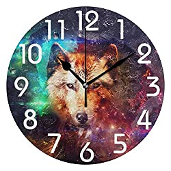 Large Arabic Digital Quartz Movement Clock- Magic Space Wolf Print Round Wall Clock, 9.5 Inch Battery Operated Quartz Analog Quiet Desk Clock for Home,Office,School-size9in