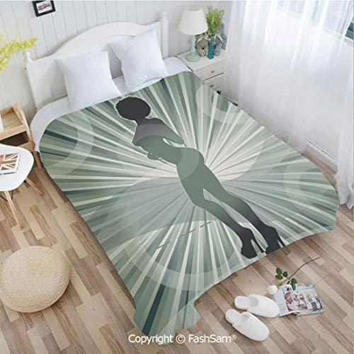 PUTIEN Super Soft Blankets for Couch Bed Birthday an Afro American Woman in High Heels Silhouette with Ray Background Pattern Sofa Blanket for Bedroom(59Wx78L)
